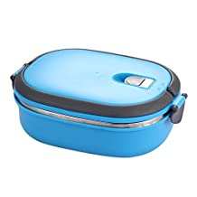 Lunch Box - SODIAL(R) Insulated Lunch Box Stainless Steel Food Storage Container Thermo Server Essentials Thermal (Single Layer, Blue)
