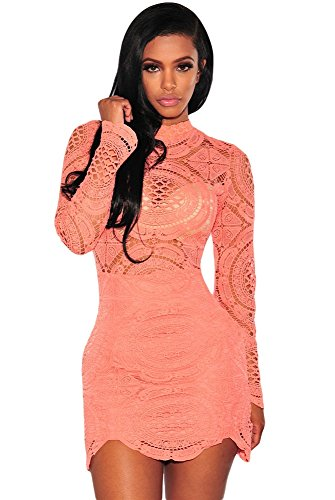 orange lace cocktail dress - 4