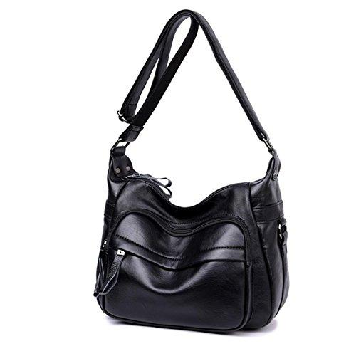 Messenger Black Handbags Women Soft Bag Fashion Women Leather Shoulder 5q8H7