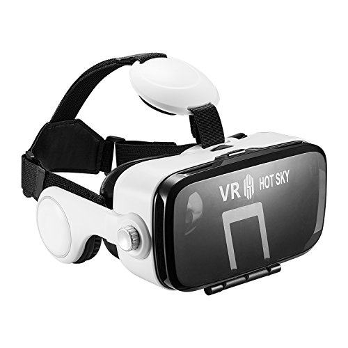"""VR Headset Headphones VR BOX 3D VR Glasses Virtual Reality Boxes with Stereo Headphones for Video And Games Compatible with iPhone & Android Other 3.5""""-6.0"""" Cellphones HS-Z4"""