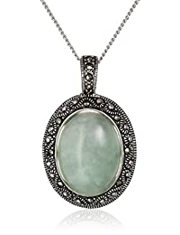 Sterling Silver, Marcasite, and Green Jade Oval Pendant Necklace, 18""