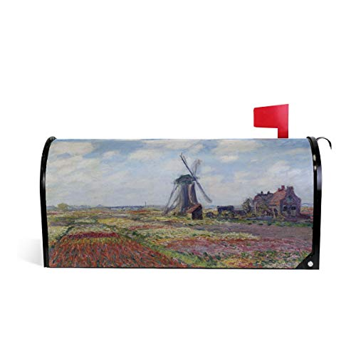 (Magnetic Mailbox Cover Fields of Tulip with Rijnsburg Windmill Monet Art Mail Wraps Cover Letter Post Box 25.5