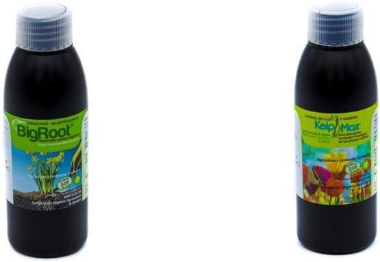 BIGROOT®+KELPMAX®. Vitaminas/Multinutrientes/Algas; Calidad-Cuidado Integral Plantas. Potente Bio-Estimulante- potenciador de la raíz. Ecológico.(2.500 m2)