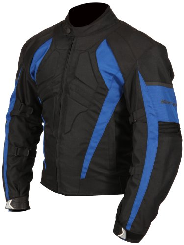Milano Sport Gamma Motorcycle Jacket with Blue Accent (Black, Large) by Milano Sport (Image #1)