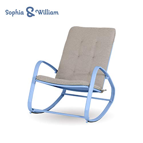 - Sophia and William Outdoor Patio Rocking Chair Padded Steel Rocker Chair Support 300lbs, Blue