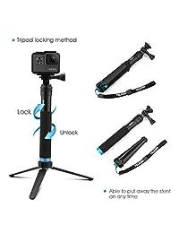 AFAITH - Polo para GoPro (aleación de aluminio, trípode con soporte estable, monopie portátil a prueba de agua, para cámara de acción GoPro Hero 7 6 5 4 Xiao Yi)