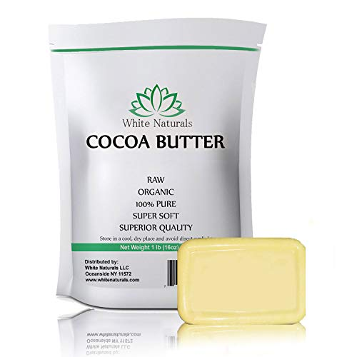 Raw Cocoa Butter 1 lb, Unrefined, Pure, Natural, Perfect For Skin Care & Hair Care, All DIY Recipes,16 oz By White ()