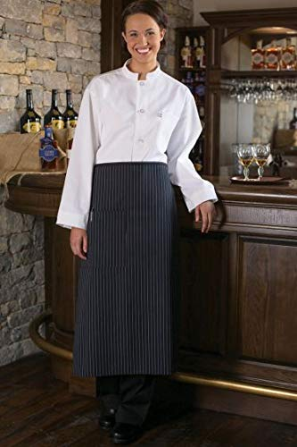 Black White Pencil Pinstripe - Uncommon Threads Unisex Bistro Apron One Pocket, Black/White Pin Stripe, One Size
