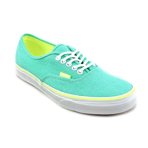 35582e3d9ba5 Vans Womens Authentic Skate Shoe (Washed Twill) Aqua Green Neon Yellow Size  5 - Buy Online in Oman.