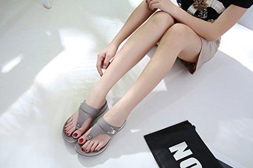Sandals Summer Pour Femmes Chaussures Dames Beach Wedge Ruiren Gris tFx1qdEww