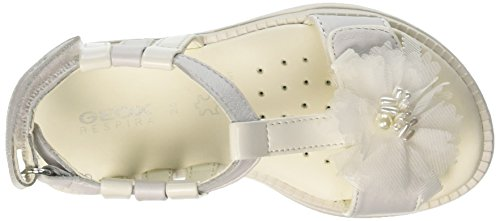 Geox Sandal Karly Girl C, Sandalias con Tira de T Para Niñas Blanco (White)