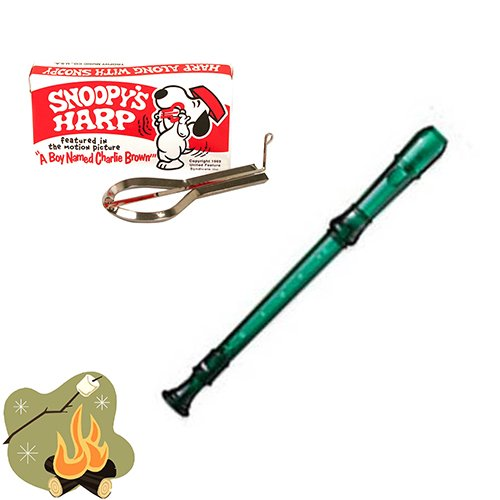 Campfire Music Pack - Summer Fun Pack with Snoopy Jaw Harp & Green Translucent Soprano Recorder by camping toys