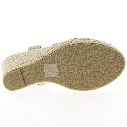 Donna nero tacco zeppa sandali 10 cm