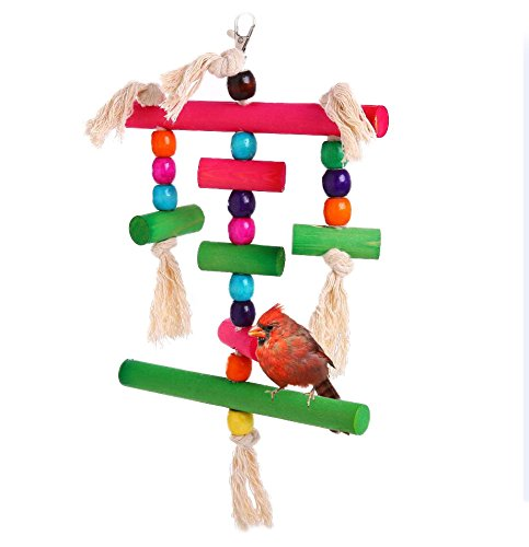 QBLEEV Parrot Chew Wood Toy Bird Swing Birdcage Hanging Chewing Toys Play Gym Perch Multicolored Wooden Blocks Knots for Parakeets Conure Cockatiels ()