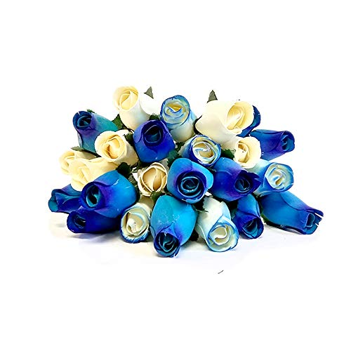 Shop Zoombie 24 Realistic Wooden Roses Flowers - Blues & Cream