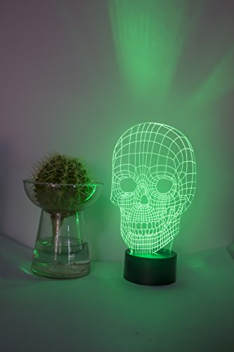 Loveboat 7 Colors Amazing Optical Illusion 3D Glow LED Lamp Art Sculpture Lights Produces Unique Lighting Effects and 3D Visualization for Home Decor (Skull) by Loveboat