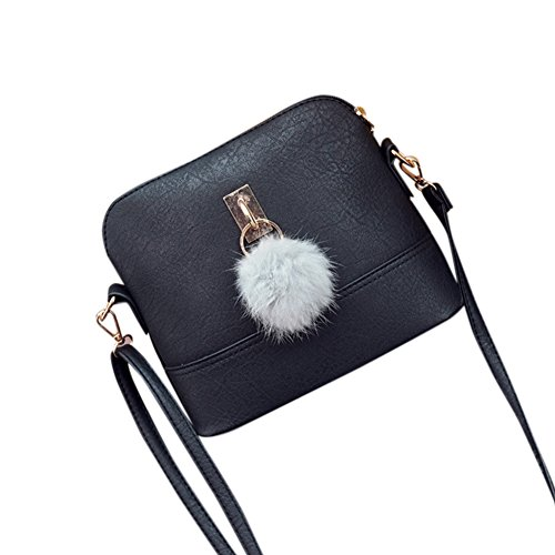 Women Shell Single Cross Bag Gray Shoulder Stylish Bag Fashionwu Ball body Hair Gift Pretty Messenger Bag bag Bz5SHwqx