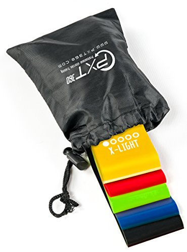 Ankle Weights Loop Exercise Resistance Bands Set By PXT360: 5 Varying Resistance Levels, Latex Straps For Full Body Workouts, Strength Training, Stretching And Weight Loss. Physical Therapist's Choice For Sale