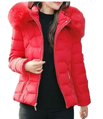 Faux Down Puffer Women's Hooded Red Jacket Quilted Collar EKU Short Fur Padded FT1qA5