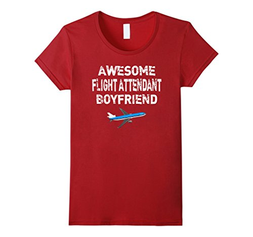 Red Air Hostess Costume (Womens Flight Attendant Boyfriend T Shirt Gift Air Hostess Shirt Large Cranberry)