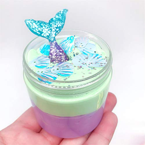 Theshy Beautiful Mermaid Mud Mixing Cloud Slime Putty Scented Stress Kids Clay Toy Slime Mud for Kids Fluffy -