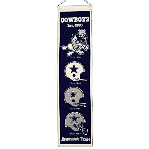 Dallas Cowboys Officially Licensed 8x32 Embroidered Wool NFL Heritage (Wool Nfl Banner)