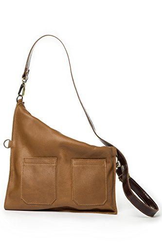 Soft leather crossbody bag   Fold over purse   Practical for woman and girls (Tan) by Percibal (Image #1)