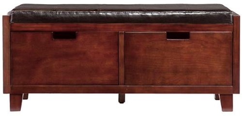 Flynn 2 Drawer Bench - Underneath Storage Space - Faux Leather Cushion w/ Expresso Finish