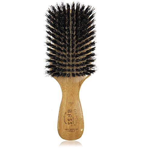 Bass Brushes 100% Wild Boar Bristle Classic Mens Club Style Hair Brush, with 100% Pure Bamboo Handle, Shines, Conditions, and Polishes. Model #153