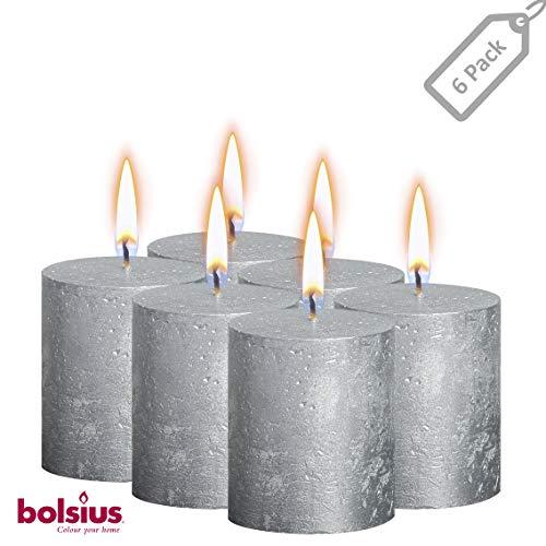 BOLSIUS Rustic Full Metallic Silver Candles - Set of 6 Unscented Pillar Candles - Silver Candles with a Full Metallic Coat - Slow Burning - Perfect Décor Candle - 80/68m ()