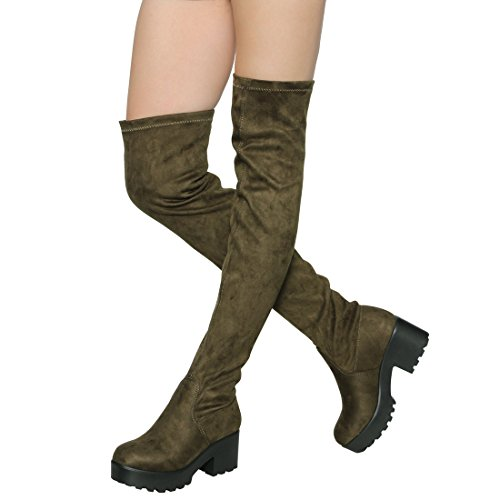 ShoBeautiful Womens Thigh High Platform Boots Sexy Chunky Block Heel Stretch Pull on Over The Knee Tall Boots Olive 7