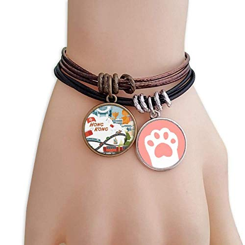 DIYthinker Hong Kong Famous Cartoon Places Cats Bracelet Leather Rope Wristband Couple Set