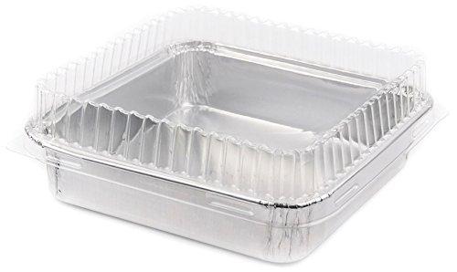 Foil Mini Cake Pans Square 4 1/8 X 4 1/8 Disposable Foil with Plastic Lid for Pastries, 10 Sets.