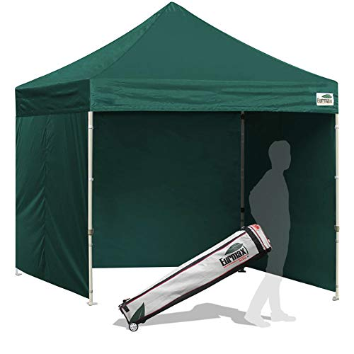Eurmax 8x8 Feet Ez Pop up Canopy Tent, Pop-up Instant Tent, Outdoor Canopies Commercial Gazebo with Sidewalls Bonus Roller Bag (Forest Green) ()
