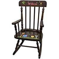 Personalized Espresso Jungle Animals Rocking Chair