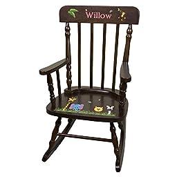 Personalized Espresso Jungle Animals Rocking Chair