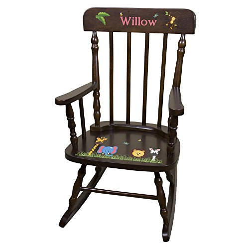 White Spindle Rocker (Personalized Espresso Jungle Animals Rocking Chair)
