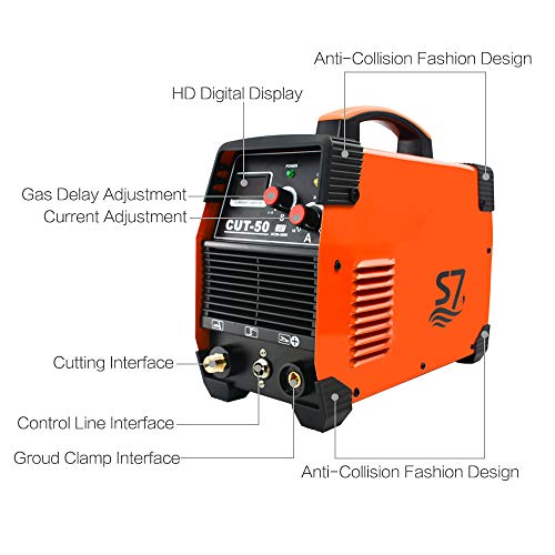 Plasma Cutter, 50A Inverter AC-DC IGBT Dual Voltage (110/220V) Cut50 Professional Fashion Luxury Portable Welding Machine With Intelligent Digital Display Free Accessories by S7 (Image #1)