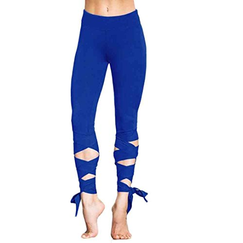 Damen Hosen,Binggong Frauen Sport Gym Yoga Workout beschnitten Leggings Fitness Lounge Sporthose Mode Jogginghose Elegant Strumpfhosen Fitness Trainingshosen Blau