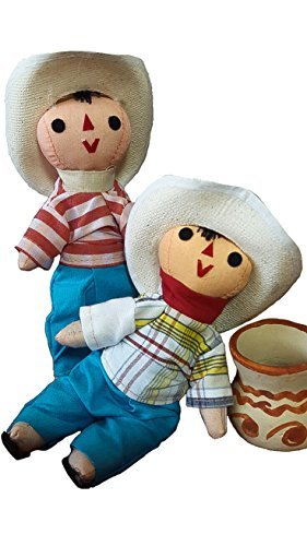 Jose and Juan Mexican Rag人形2パックCompadres小さなおもちゃHandcraft従来コスチューム7` Assorted Colors &モデルバンドルプレミアム素材