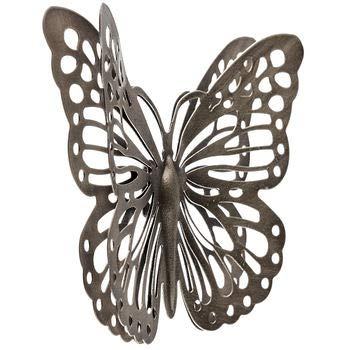 Dist By Classyjacs - All Metal - Butterfly - Primitive Monarch Design - Double Layered to Appear 3D - Wall Hung Add On Derocation - (Antique Gold Finish) HOBL 12357AB