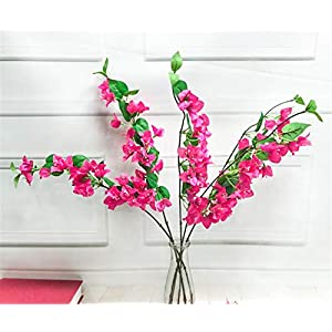 Skyseen 5Pcs Artificial Bougainvillea Glabra Fake Bougainvillea Flower for Wedding Centerpieces Decorative Flowers (Rose) 8