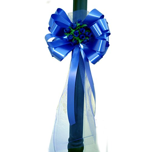 Buds Bow (Royal Blue Wedding Pull Bows with Tulle Tails and Rosebuds - 8