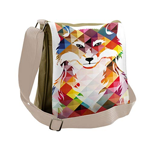 Lunarable Modern Messenger Bag, Fractal Fox of the Woodland, Unisex Cross-body