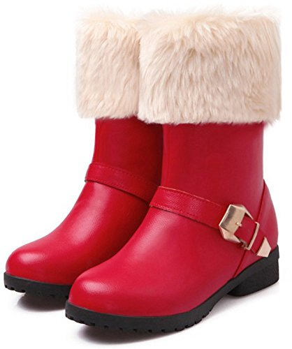 Toe Boots On Fur Low Mid Heeled Dressy Calf Chunky Snow Womens Fluffy IDIFU Round Pull Red qv68pF