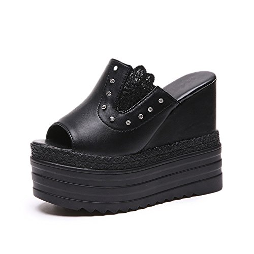 Women's Heel Flops High Slippers Beach Sandals Platform Summer Thongs Black Flip Wedge Fashion pit4tk Creative HxSfqfd