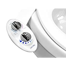 Luxe Bidet Neo 185 (Elite Series) - Self Cleaning Dual Nozzle - Fresh Water Non-Electric Mechanical Bidet Toilet Attachment w/ Strong Faucet Valves and Metal Hoses (white and white) by LUXE Bidet