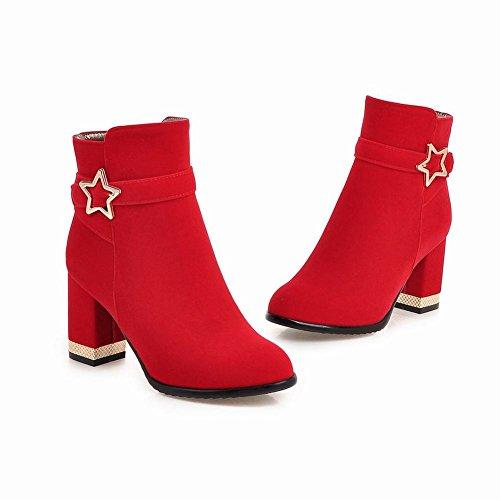 Mee Shoes Damen Suede Reißverschluss chunky heels kurzschaft Ankle Boots Rot