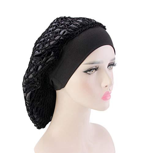 EPIEUREKA Elastic Wide Band Net Night Sleep Cap Hat Crocheted Slouchy Beanie Double Layered Snood Bonnet (One Size, Black)
