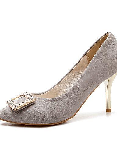 GGX/ Damen-High Heels-Büro / Lässig-Vlies-Stöckelabsatz-Absätze / Komfort / Spitzschuh-Schwarz / Rosa / Rot / Grau gray-us6.5-7 / eu37 / uk4.5-5 / cn37